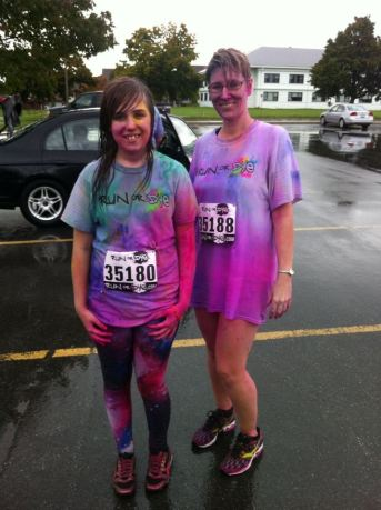 My daughter & I at Run or Dye in 2013